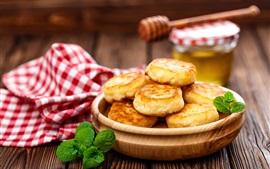 Panqueques, desayuno, menta, tabla de madera