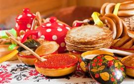 Preview wallpaper Pancakes, caviar, food