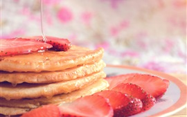 Pancakes, strawberry, syrup, food