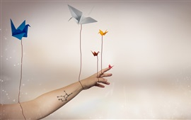 Paper cranes, flying, hand, creative picture