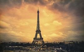 Paris, Eiffel Tower, city, clouds, dusk