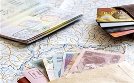 Passport, maps, money, credit cards