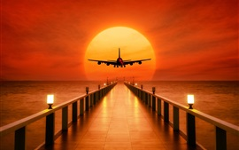 Preview wallpaper Pier, sea, airplane takeoff, sunset