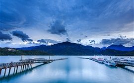 Preview wallpaper Pier, yachts, boats, mountains, clouds, dusk