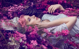 Pink hair girl sleep, flowers, shine