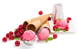Pink ice cream, raspberry, white background