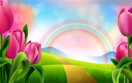 Preview wallpaper Pink tulips, rainbow, colors, path, art picture
