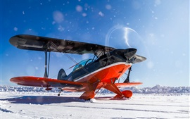 Plane, biplane, propeller, winter, snow
