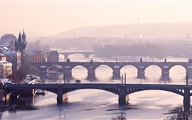 Preview wallpaper Prague, Czech Republic, Vltava, river, bridges, city, fog, morning