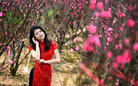 Preview wallpaper Red skirt Chinese girl in the garden, pink flowers bloom
