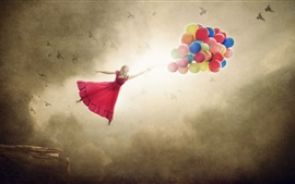 Red skirt girl flying with colorful balloons