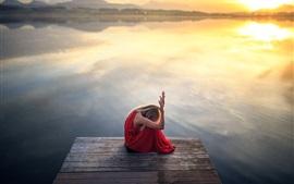 Red skirt girl, sit, hope, lake, sunset