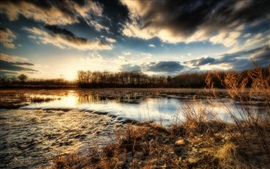 River, trees, grass, stones, clouds, sunset