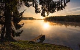 Река, деревья, утро, восход солнца