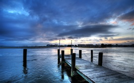 Preview wallpaper River, water, pier, houses, clouds, dusk