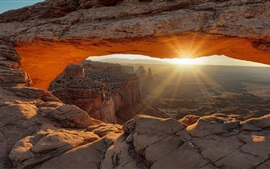 Rocks, canyon, cave, sun rays