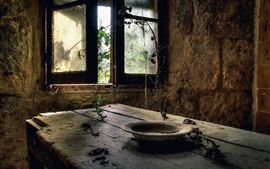 Preview wallpaper Ruins, room, wood table, window, plates, dust