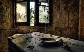 遺跡、部屋、木製テーブル、窓、プレート、ほこり