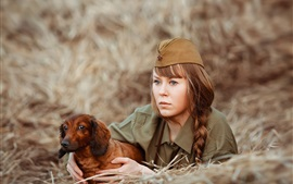Preview wallpaper Russian soldier, girl, dog
