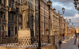Preview wallpaper Saint Petersburg, street, buildings, lamps