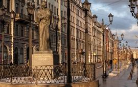 São Petersburgo, rua, edifícios, lâmpadas