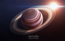 Preview wallpaper Saturn, ring, planet, sun, solar system