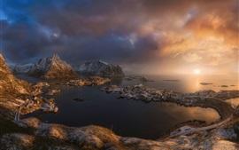 Escandinávia, mar norueguês, Noruega, cidade, nuvens, ilha