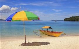 Preview wallpaper Sea, beach, tropical, boat, umbrella