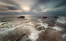 Mar, hielo, costa, invierno