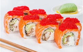 Preview wallpaper Seafood, rolls, sushi, caviar, fish