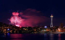 Seattle, fuegos artificiales, noche, ciudad