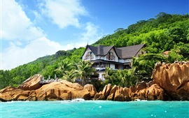 Preview wallpaper Seychelles, island, palm trees, stones, house, sea