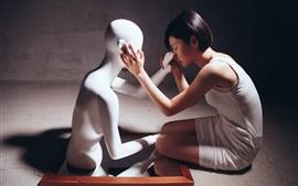 Vorschau des Hintergrundbilder Asiatisches Mädchen und Modell des kurzen Haares, Stimmung