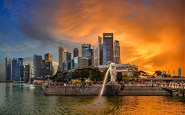Preview wallpaper Singapore, Merlion Park, skyscrapers, river, people, city, dusk