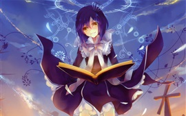 Preview wallpaper Smile anime girl read book