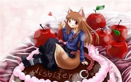 Sonrisa chica anime, cola, manzanas rojas