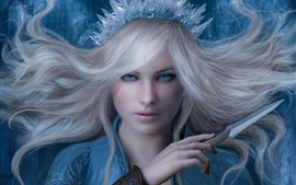 Preview wallpaper Snow queen, girl, blue eyes, ice knife