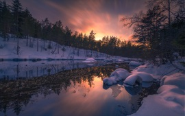 Neve, rio, árvores, pôr do sol, inverno, ringerike, noruega