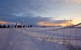 Snow, road, fence, sunset, winter
