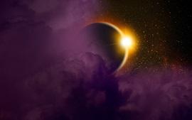Solar eclipse, planet, light, space