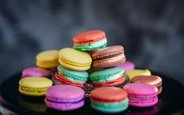 Alguns deliciosos macaroons, bolos, coloridos