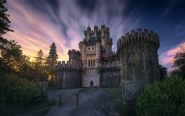 Preview wallpaper Spain, Biscay, castle, trees, dusk, sky, stars