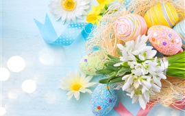 Preview wallpaper Spring, Easter, colorful eggs, flowers