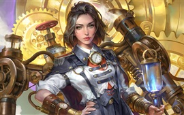 Preview wallpaper Steampunk, Steam Engineer, short hair girl, art picture