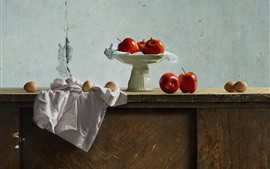 Preview wallpaper Still life, red apples, eggs