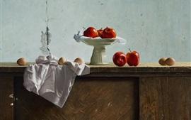 Naturaleza muerta, manzanas rojas, huevos