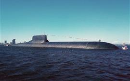 Submarino, bajo el agua, mar