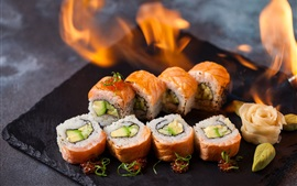 Preview wallpaper Sushi, rolls, caviar, fire, Japanese food