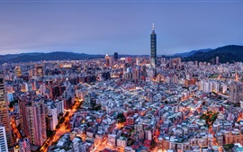 Preview wallpaper Taiwan, Taipei, mountains, city, night, lights