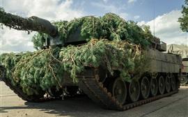 Tank, combat, twigs, camouflage